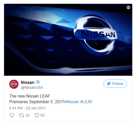 Электромобиль Nissan Leaf нового поколения представят 5 сентября
