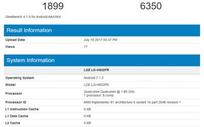 Смартфон LG V30, предположительно, протестирован в Geekbench