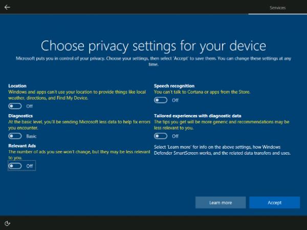Большинство пользователей Windows 10 Creators Update выбирают все настройки телеметрии