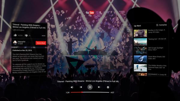 У YouTube появилось приложение для шлема виртуальной реальности Daydream View