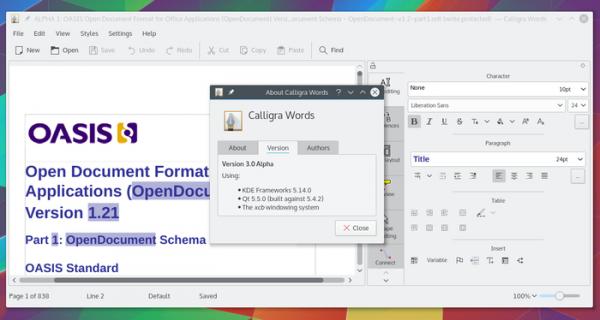 Релиз офисного пакета Calligra 3.1, развиваемого проектом KDE